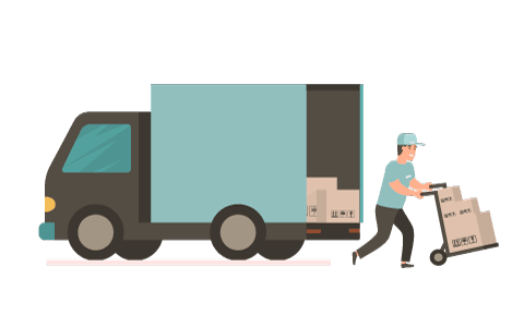 man filling up a truck icon